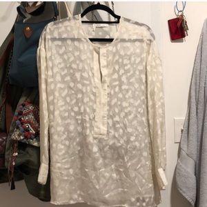Derek Lam Crosby 10 cream leopard silk blouse